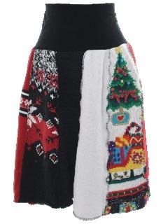 1980's Womens Ugly Christmas Sweater Skirt