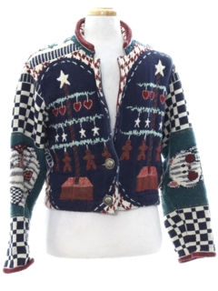 1990's Womens Ugly Christmas Sweater Jacket