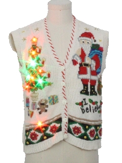 1980's Womens Multicolor Lightup Ugly Christmas Sweater Vest