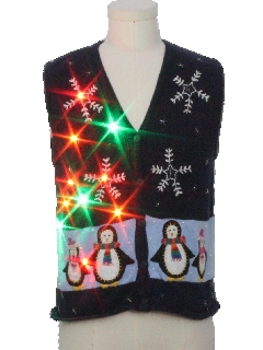 1980's Womens or Girls Multicolor Lightup Ugly Christmas Sweater Vest