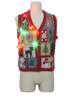 1980's Womens Country Kitsch Multicolor Lightup Ugly Christmas Sweater Vest