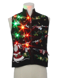 1980's Womens/Girls Multicolor Lightup Ugly Christmas Sweater Vest