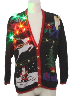 1980's Unisex Multicolor Lightup Ugly Christmas Cardigan Sweater