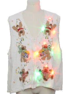 1980's Unisex Multicolor Lightup Bear-riffic Ugly Christmas Sweater Vest