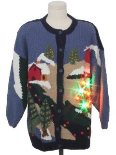 1980's Unisex Country Kitsch Multicolor Lightup Ugly Christmas Sweater