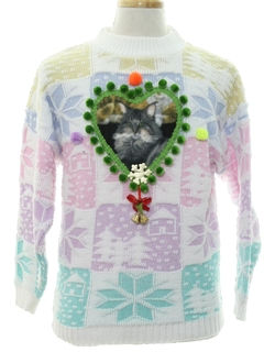1980's Unisex Vintage Ugly Christmas Catmus Sweater