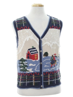 1980's Unisex/Childs Country Kitsch Ugly Christmas Sweater Vest
