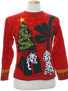 1980's Unisex Ladies or Boys Vintage Dog-Gonnit Ugly Christmas Sweater