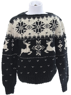 1980's Unisex/Childs Ugly Christmas Snowflake Reindeer Sweater