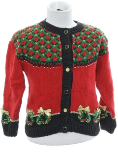 1980's Womens/Childs Country Kitsch Style Ugly Christmas Sweater