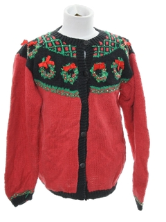 1980's Womens/Girls Country Kitsch Style Ugly Christmas Sweater