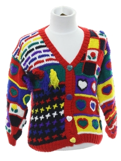 1980's Unisex/Childs Cheesy Ugly Cardigan Sweater