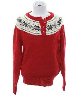 1980's Womens/Girls Ugly Christmas Snowflake Sweater