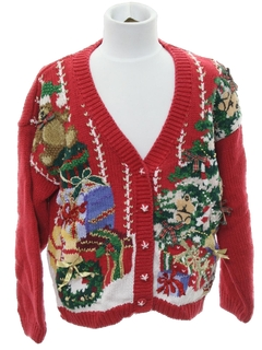 1990's Womens or Girls Ugly Christmas Cardigan Sweater