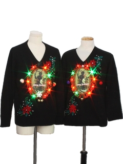 1990's Unisex Multicolor Lightup Krampus Ugly Christmas Matching Sweater Set