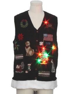 1990's Unisex Hand Embellished Multicolor Lightup Dog-gonnit Ugly Christmas Sweater Vest