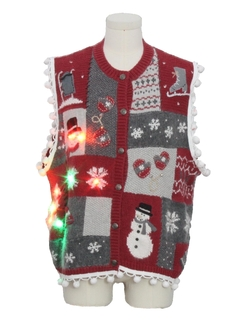 1980's Unisex Hand Embellished Multicolor Lightup Country Kitsch Ugly Christmas Sweater Vest