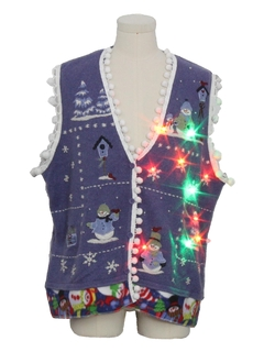 1990's Unisex Hand Embellished Multicolor Lightup Country Kitsch Ugly Christmas Sweater Vest