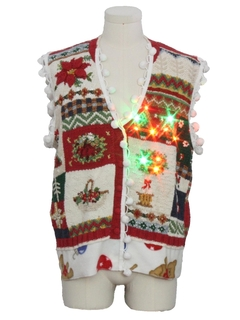 1990's Unisex Vintage Hand Embellished Multicolor Lightup Country Kitsch Ugly Christmas Sweater Vest