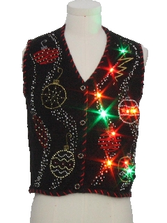 1990's Womens Multicolor Lightup Ugly Christmas Sweater Vest