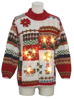 1990's Unisex Vintage Lightup Country Kitsch Ugly Christmas Sweater