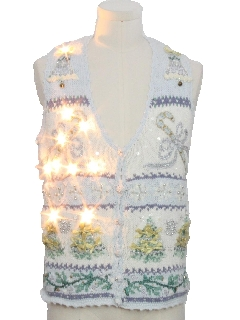 1990's Unisex Vintage White Lightup Ugly Christmas Sweater Vest