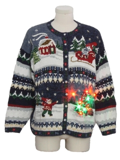 1990's Unisex Multicolor Lightup Country Kitsch Ugly Christmas Sweater