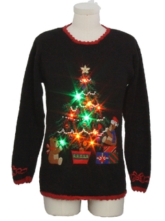 1990's Unisex Multicolor Lightup Bear-riffic Ugly Christmas Sweater