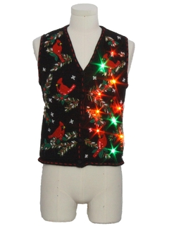 1990's Unisex Ladies, Girls or Boys Multicolor Lightup Ugly Christmas Sweater Vest
