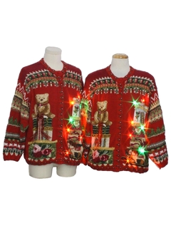 1990's Unisex Matching Set of Multicolor Lightup Bear-riffic Ugly Christmas Sweater