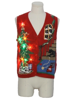 1980's Unisex Multicolor Lightup Dog-gonnit Ugly Christmas Sweater Vest