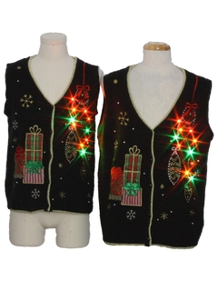 1980's Unisex Multicolor Lightup Ugly Christmas Matching Set of Sweater Vests
