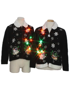 1980's Unisex His and Hers Multicolor Lightup Ugly Christmas Matching Set of Sweaters