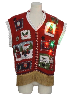 1980's Unisex Multicolor Lightup Hand Embellished Ugly Christmas Sweater Vest