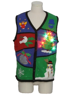 1980's Unisex Multicolor Lightup Ugly Christmas Sweater Vest