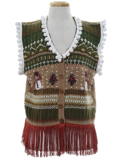 1980's Unisex Country Kitsch Hand Embellished Ugly Christmas Sweater Vest