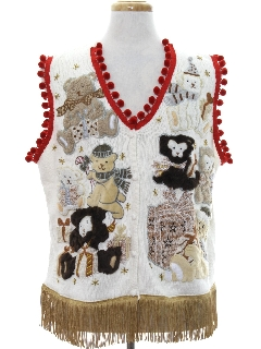 1980's Unisex Hand Embellished Bear-riffic Ugly Christmas Sweater Vest