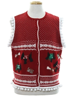 1980's Unisex Hand Embellished Dog-gonnit Ugly Christmas Sweater Vest