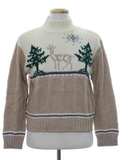 1980's Unisex Reindeer Ski Sweater