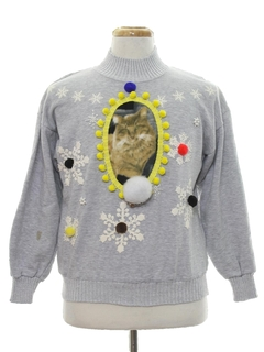 1980's Womens Catmus Ugly Christmas Sweatshirt