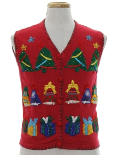 1980's Womens Ugly Christmas Sweater Vest