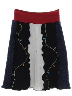 1980's Womens Hand Made Ugly Christmas Sweater Skirt