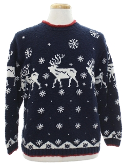 1980's Unisex Ugly Christmas Snowflake and Reindeer Sweater