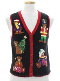 1980's Womens or Girls Bear-riffic Ugly Christmas Sweater Vest