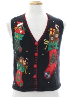 1980's Womens Bear-riffic Ugly Christmas Sweater Vest