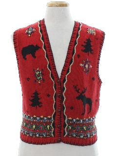 1990's Womens Country Kitsch Vintage Ugly Christmas Sweater Vest