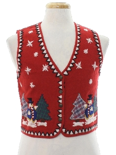 1980's Womens or Girls Ugly Christmas Non-Sweater Vest