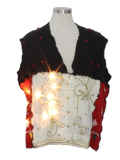 1980's Unisex Lightup Hand Made Patchwork Ugly Christmas Sweater Vest