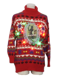 1980's Unisex Vintage Multicolor Lightup Krampus Ugly Christmas Sweater