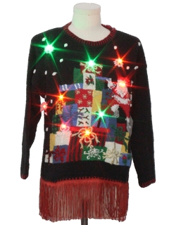 1980's Unisex Hand Embellished Multicolor Lightup Ugly Christmas Sweater